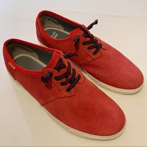 Clarks Torbay Red Suede Sneakers